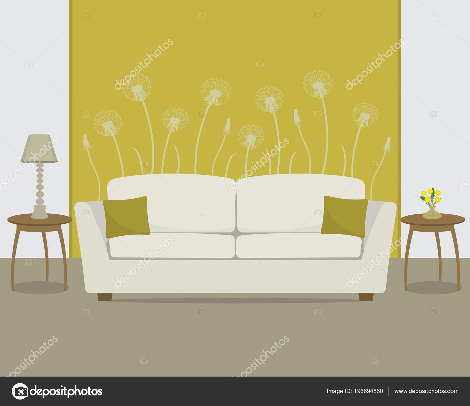 Wohnzimmer In Eine Gelbe Farbe. Im Hintergrund Der Tapete Mit Einem  Löwenzahn Gibt Es Ein Weißes Sofa. Es Gibt Auch Eine Vase Mit Einem Bouquet  Von Frischen ...