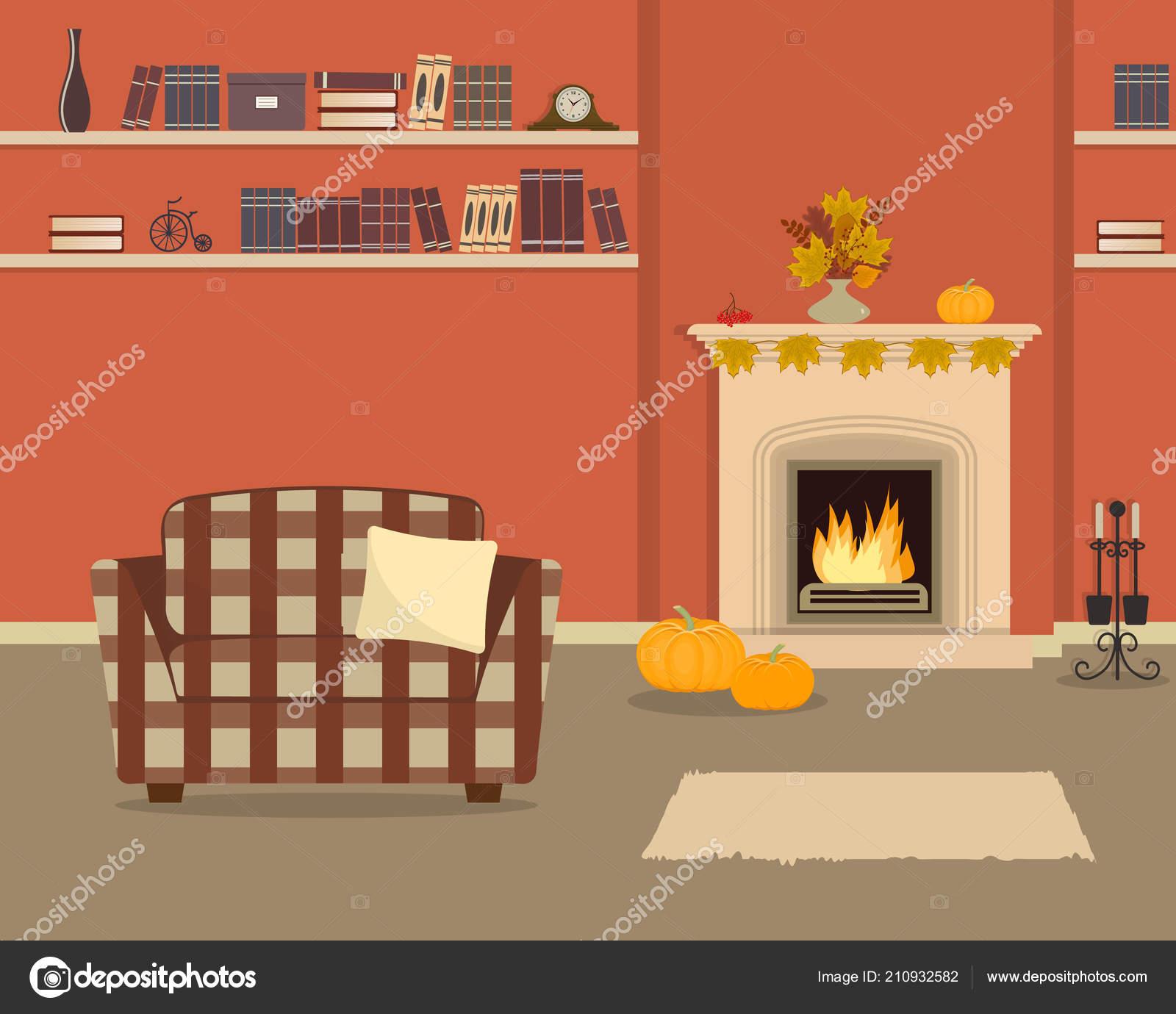 Orange Living Room Fireplace Checkered Armchair Autumn Decor