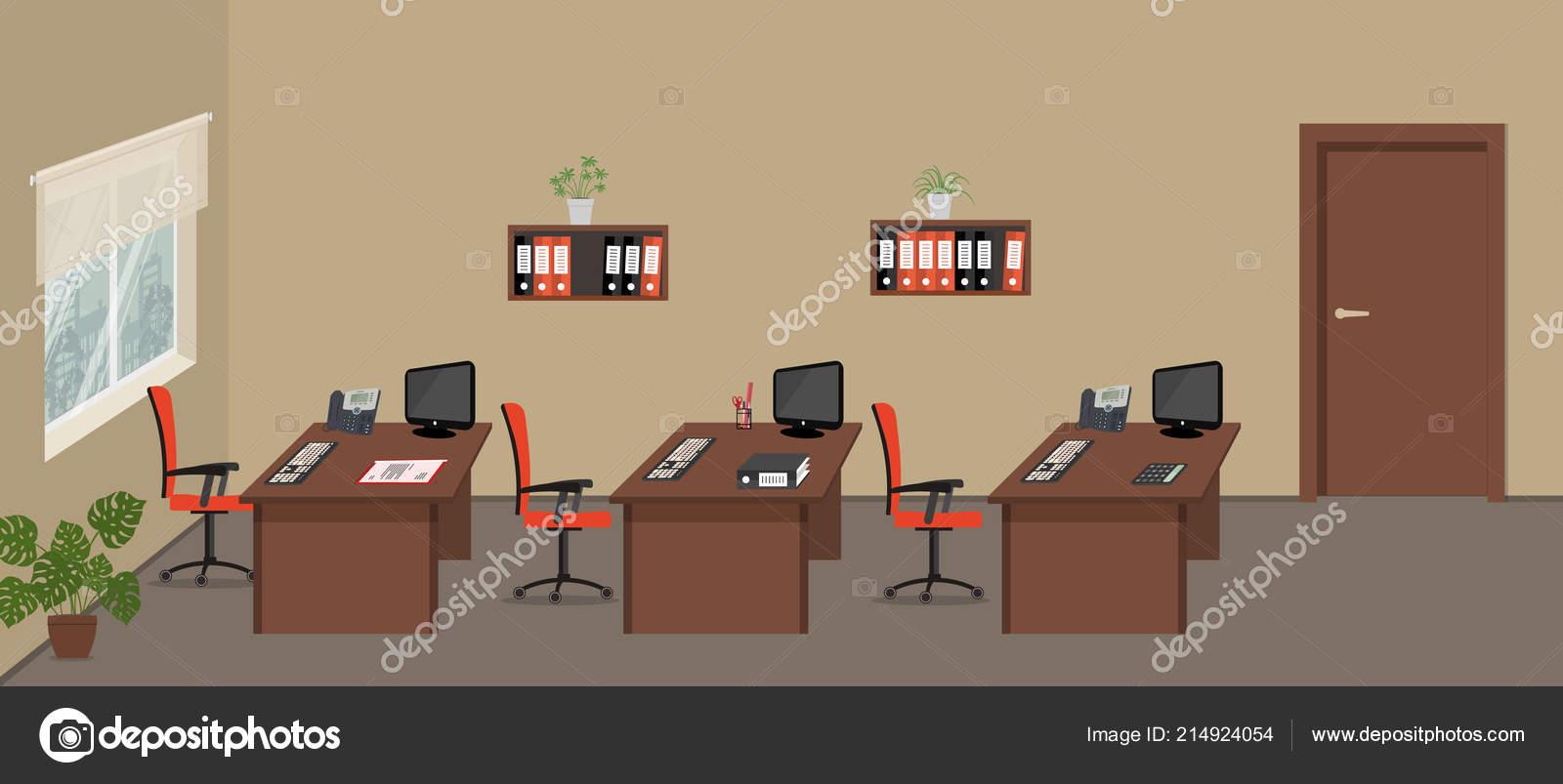 fotos von innenräumen des büroraums büroraum eine beige farbe gibt schreibtische rote stühle computer telefone stockvektor