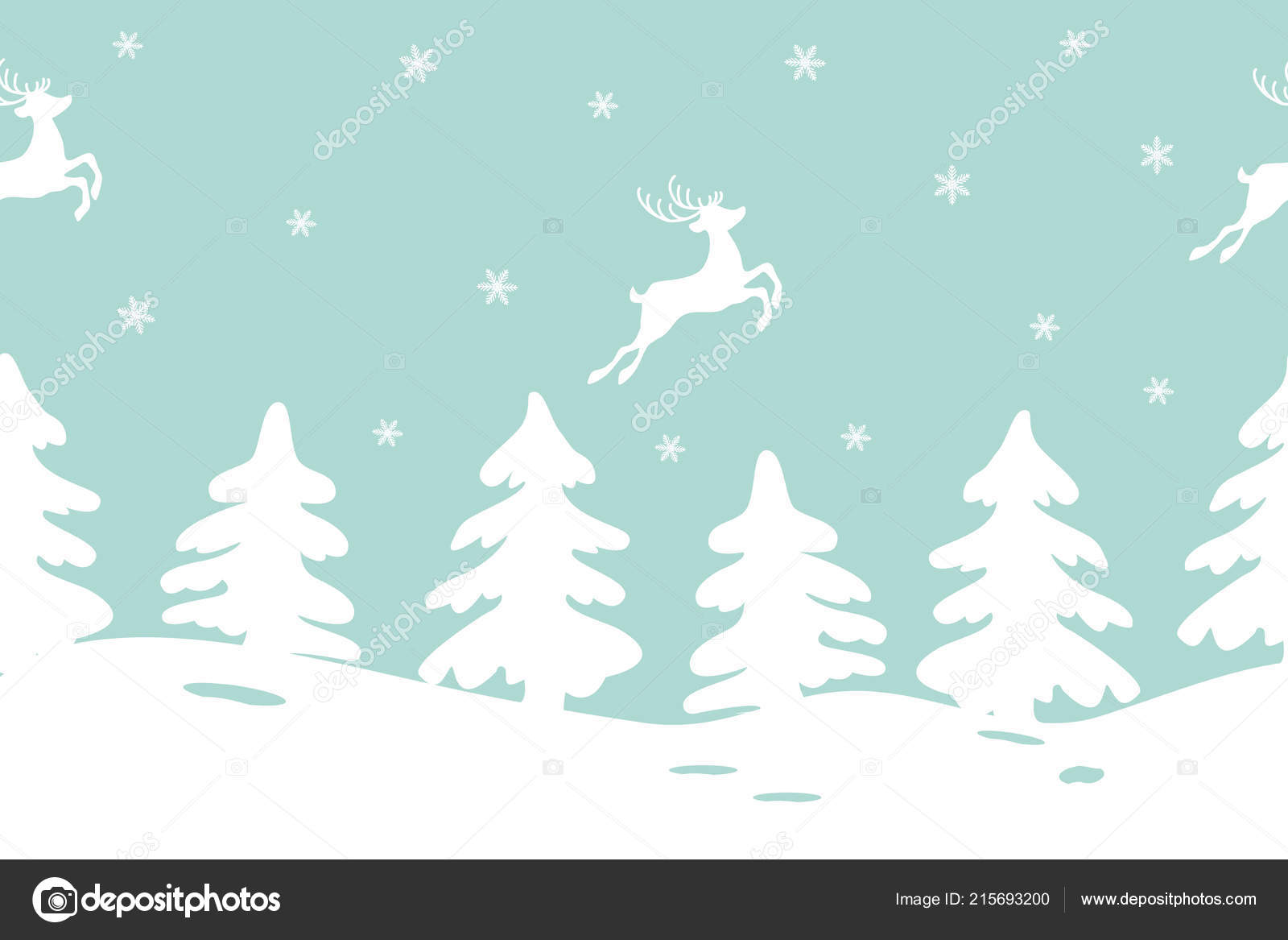 winter landscape with fir trees and deers seamless border it can be used for christmas and new year decoration as a background for the websites packing