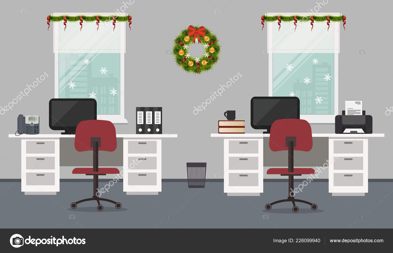 Bureau chambre décorée avec décoration noël bureau blanc chaises