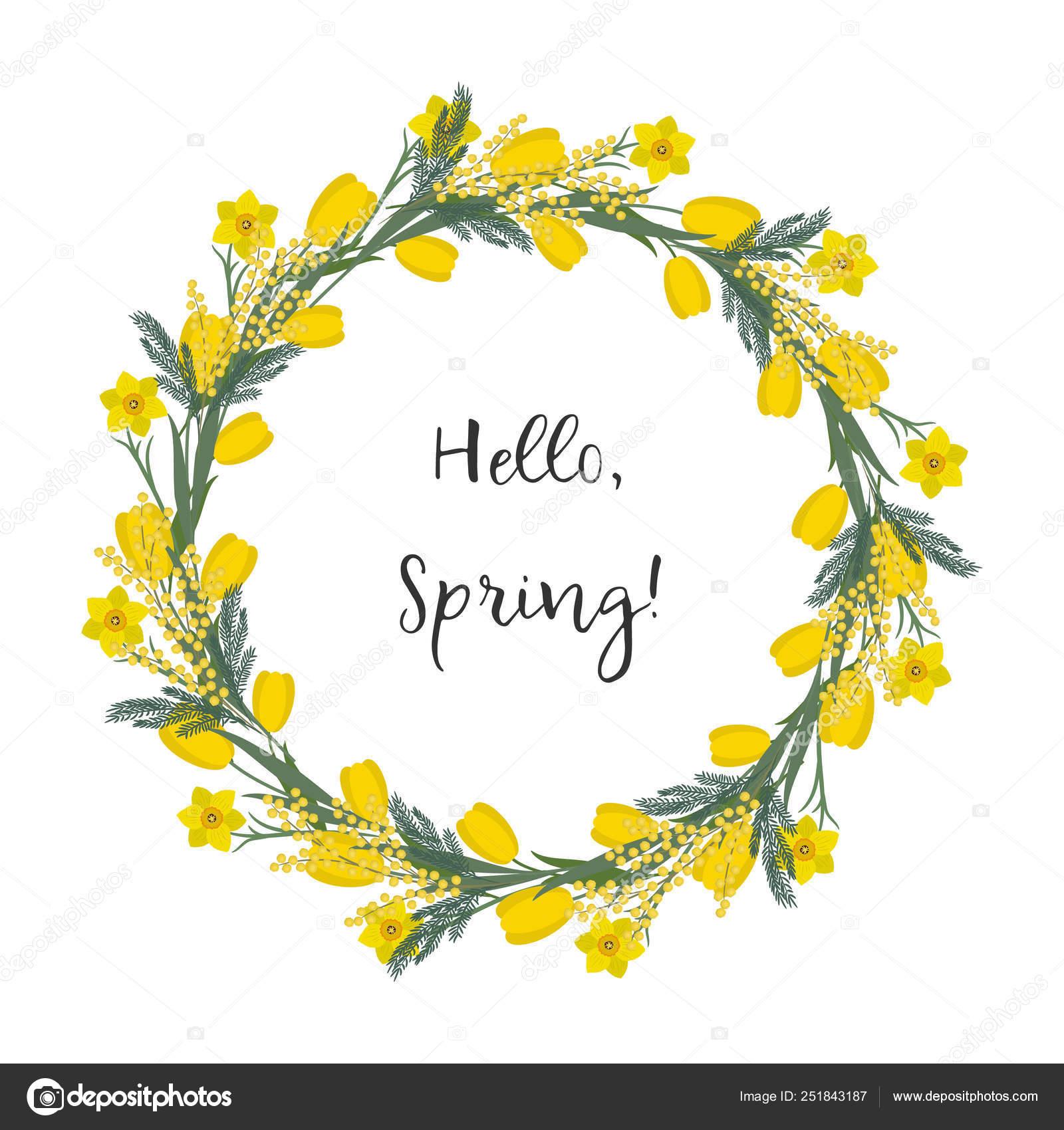 Fiori Primaverili Gialli.Floral Frame Rotonda Fiori Primaverili Fiori Gialli Tulipani
