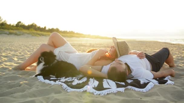 Couple In Love Romantically Lay Under The Sun. They Looking Amazing Spending Honeymoon Together.