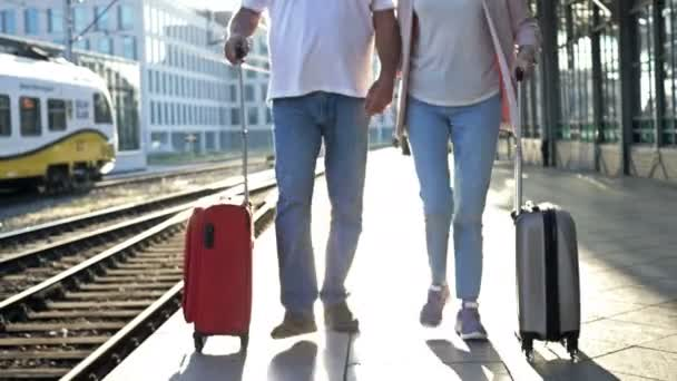 An elderly married couple with suitcases walks hand in hand along the platform.