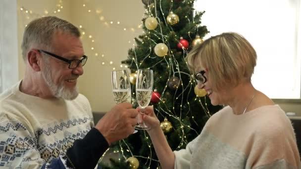 Altes Paar mit Champagner feiert Weihnachten am Baum. Frohe Weihnachten. Frohes neues Jahr.