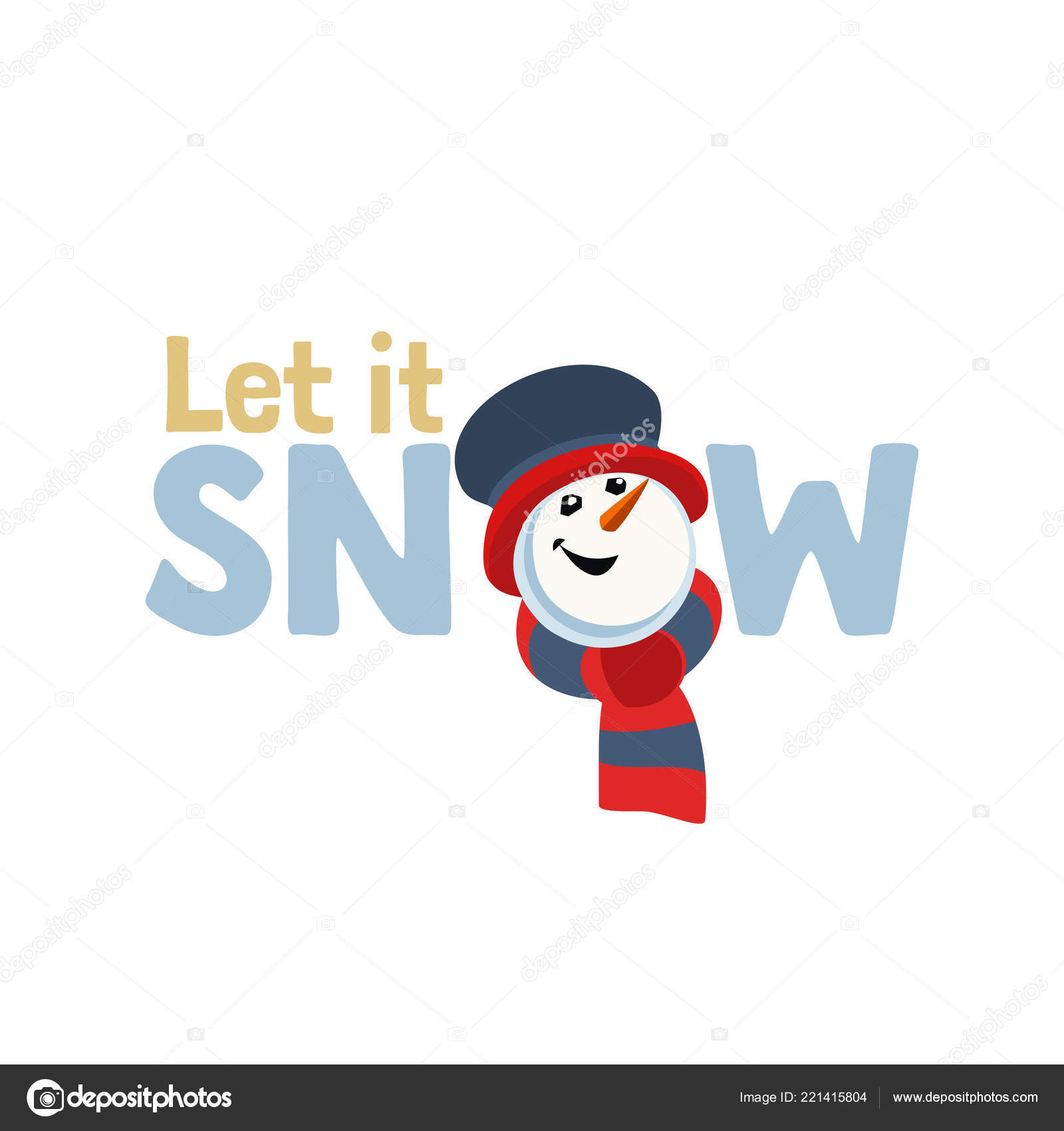 Holiday Wishes Let Snow Fancy Letters Cartoon Playful Fun Snowman