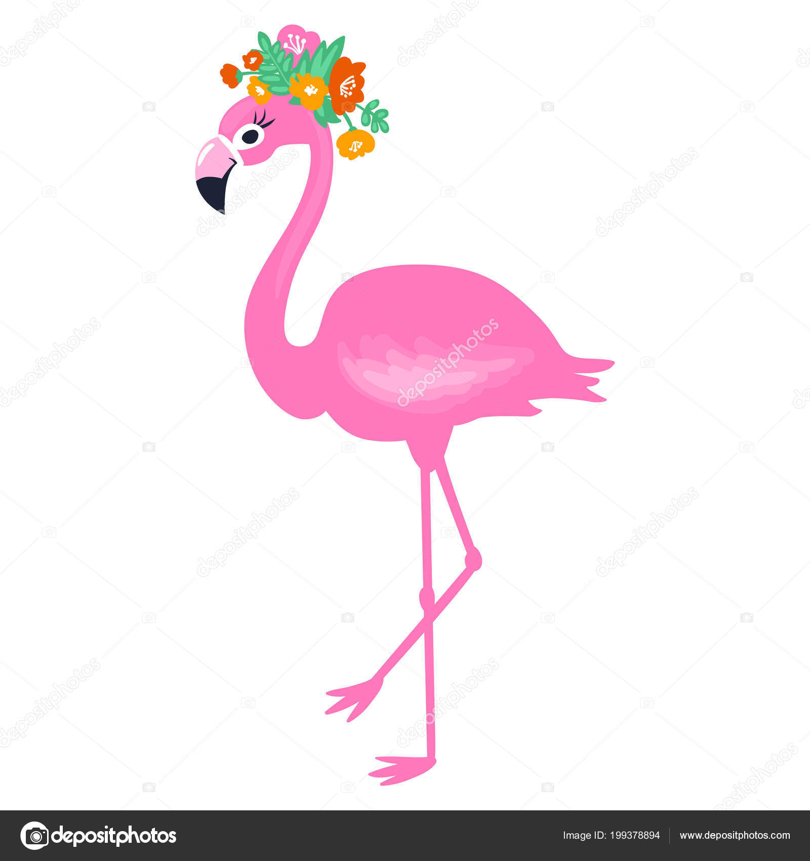 Vector Pink Flamingo Isolated On White Background Summer