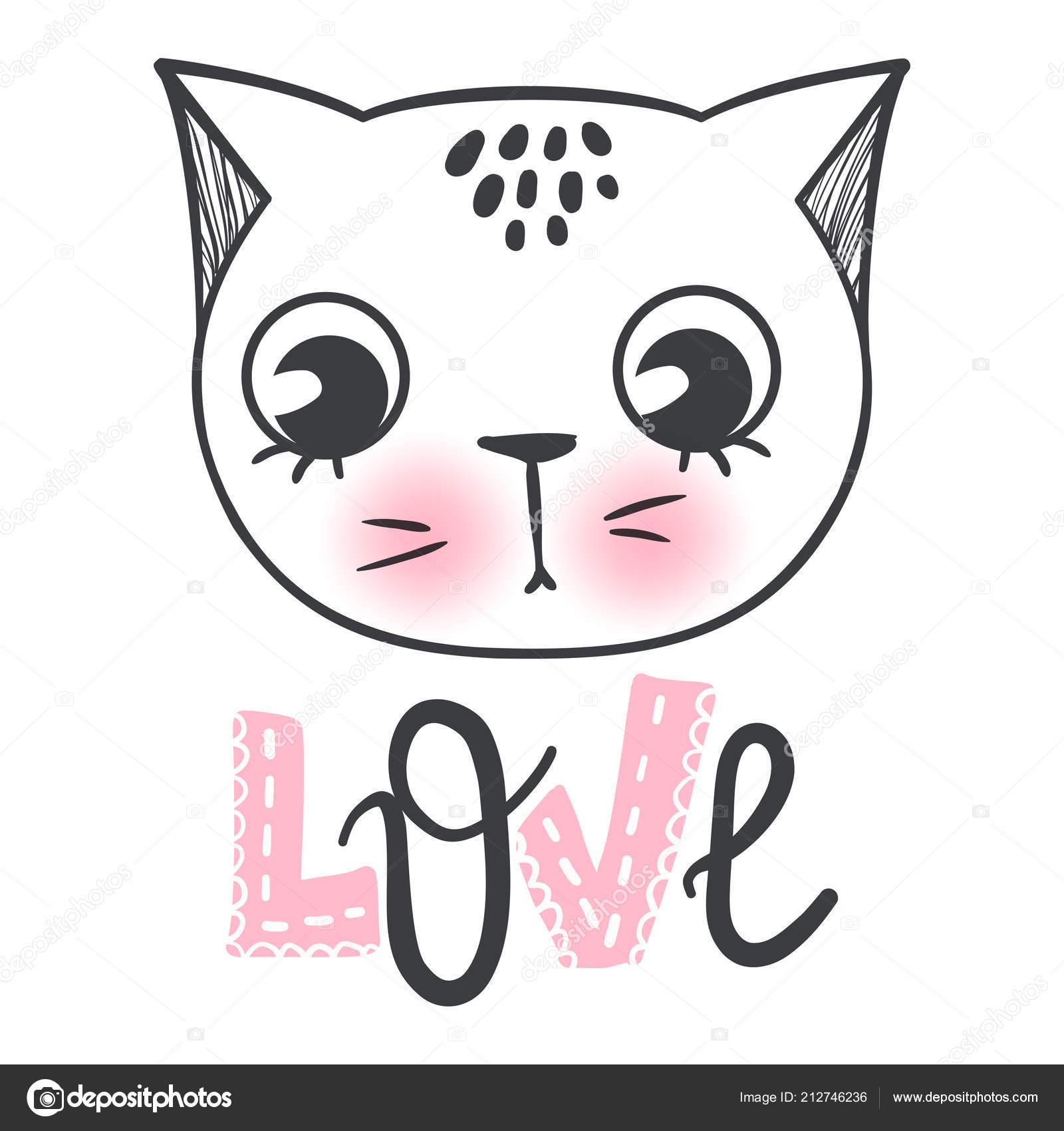 Disegno Di Vettore Del Gatto Sveglio Girly Gattini Fronte Dei