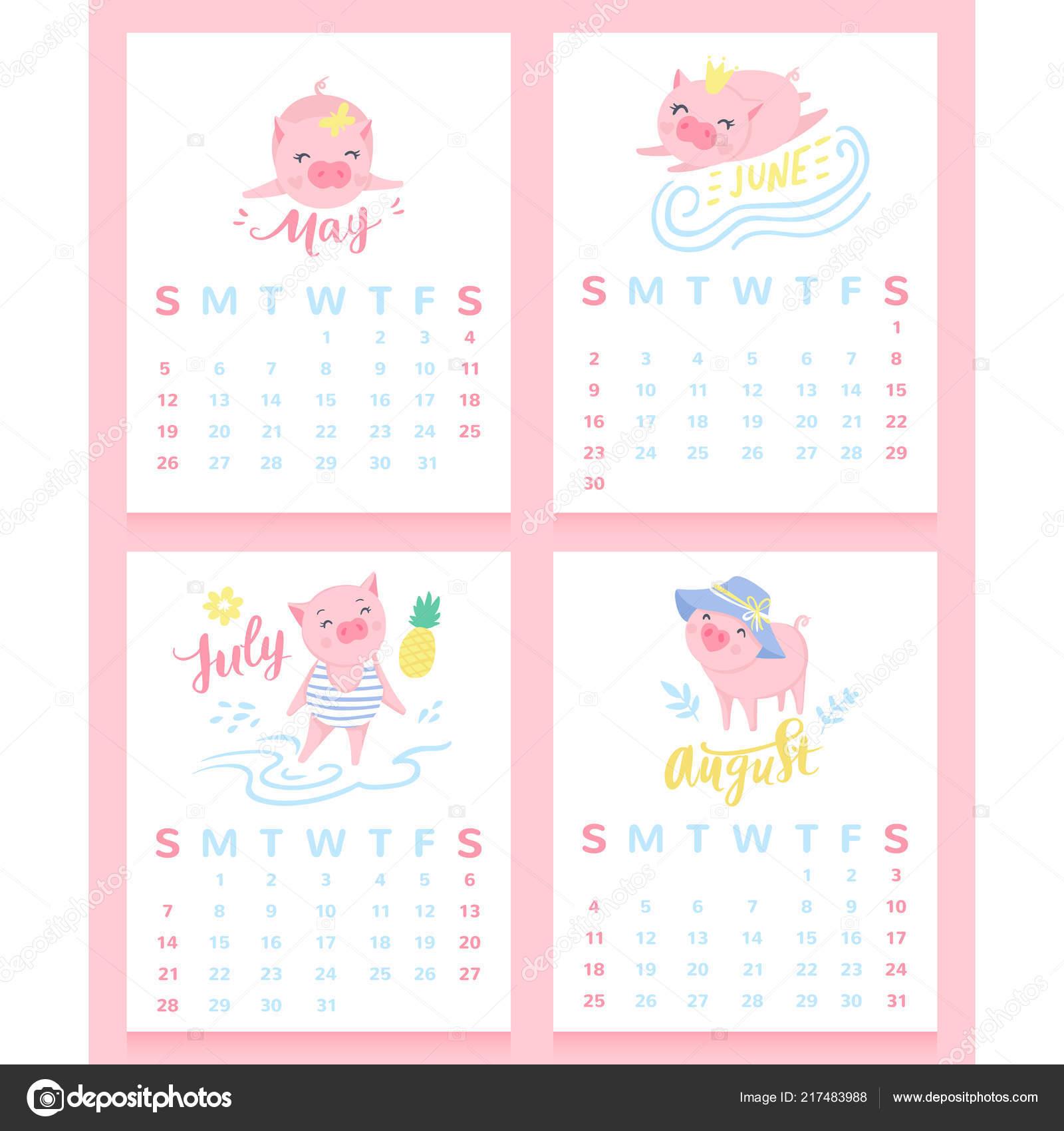 Calendario Giugno Luglio Agosto 2019.Calendario 2019 Con Maiali Svegli Del Fumetto Maggio