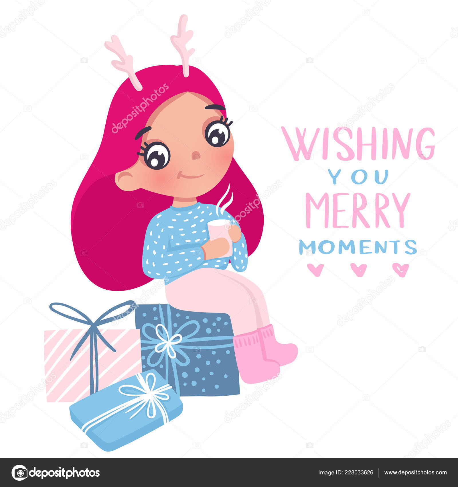 Illustrations Happy New Year Girl Merry Christmas And