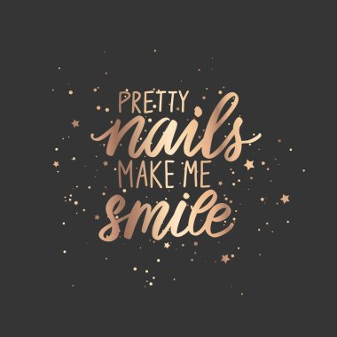Golden Vector Handwritten lettering about nails. Inspiration quote for nail studio