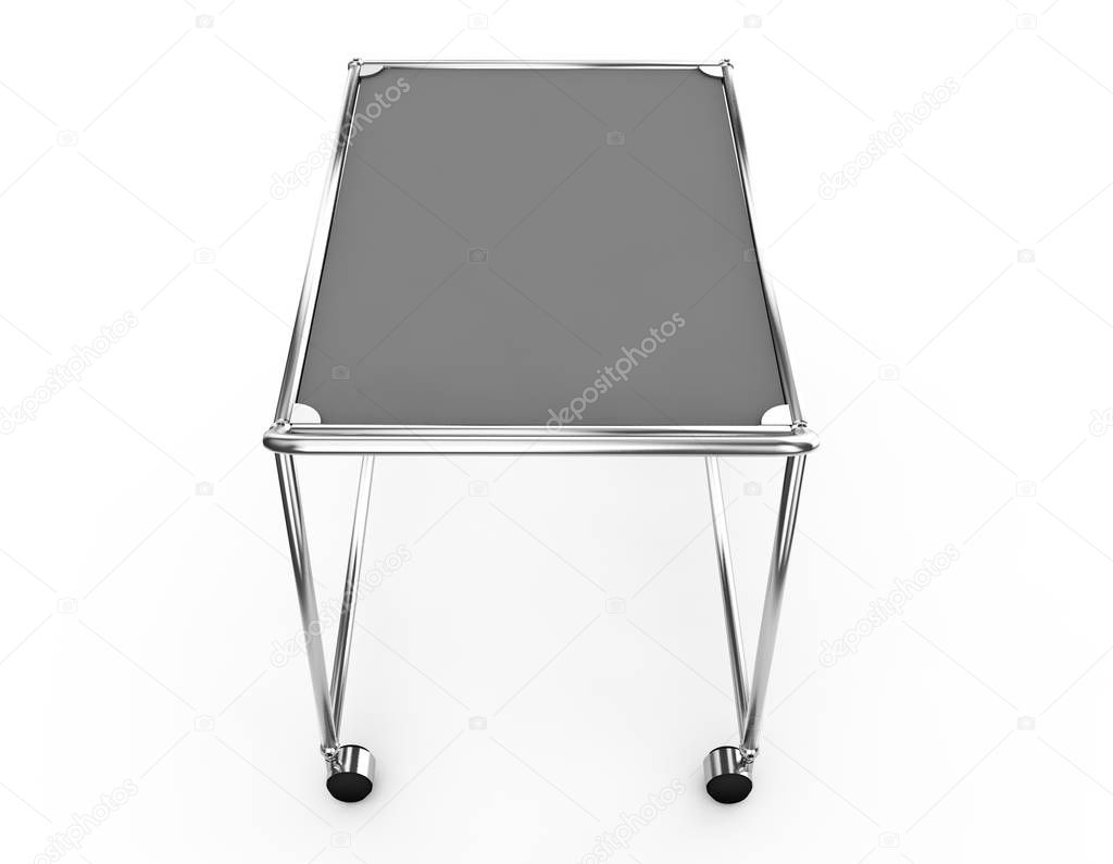 Baggage trolley side view isolated on white background. 3d render