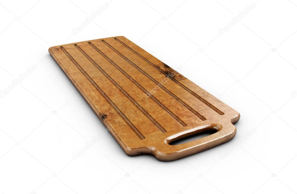 Wooden cutting board isolated on white background 3d render