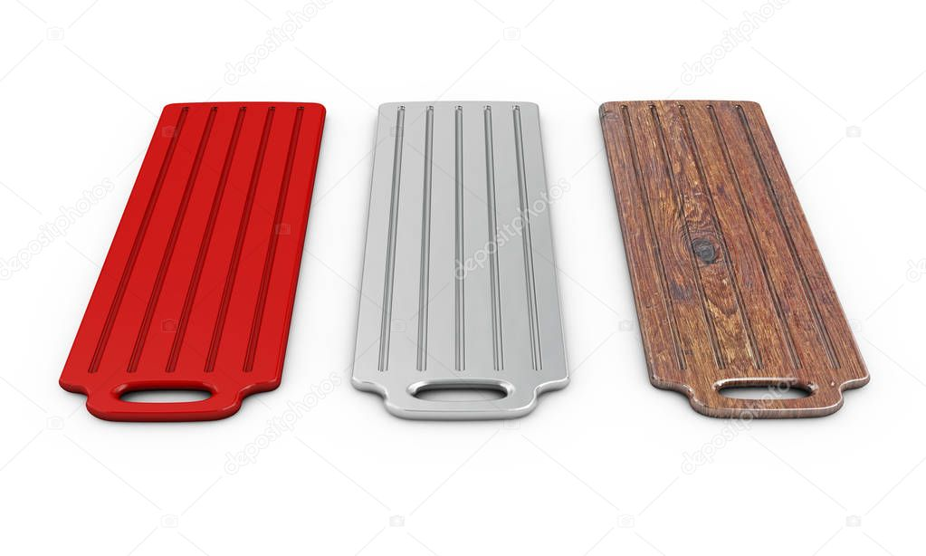 cutting board isolated on white background 3d render