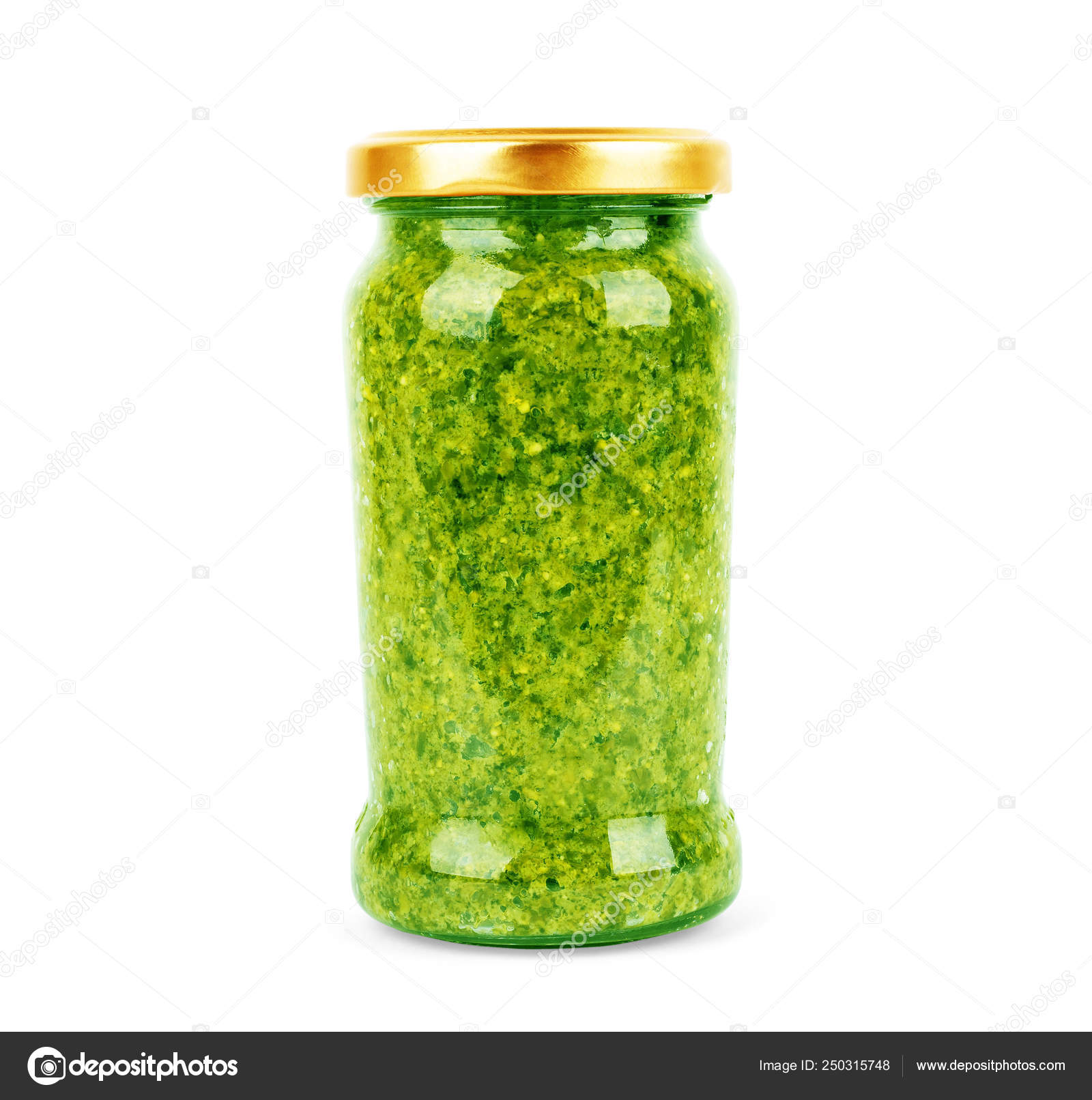 Homemade Basil Pesto Sauce In Glass Jar On White Background Stock Photo Image By C Vadarshop 250315748