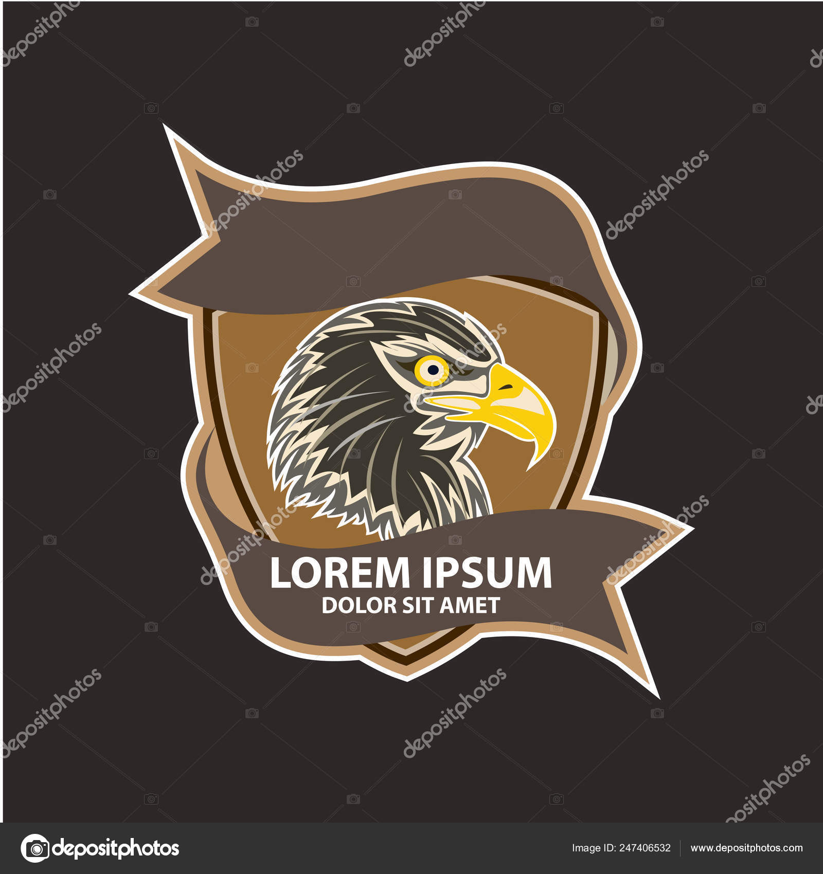 American Eagle Head Logo Design Concept Template — Stock