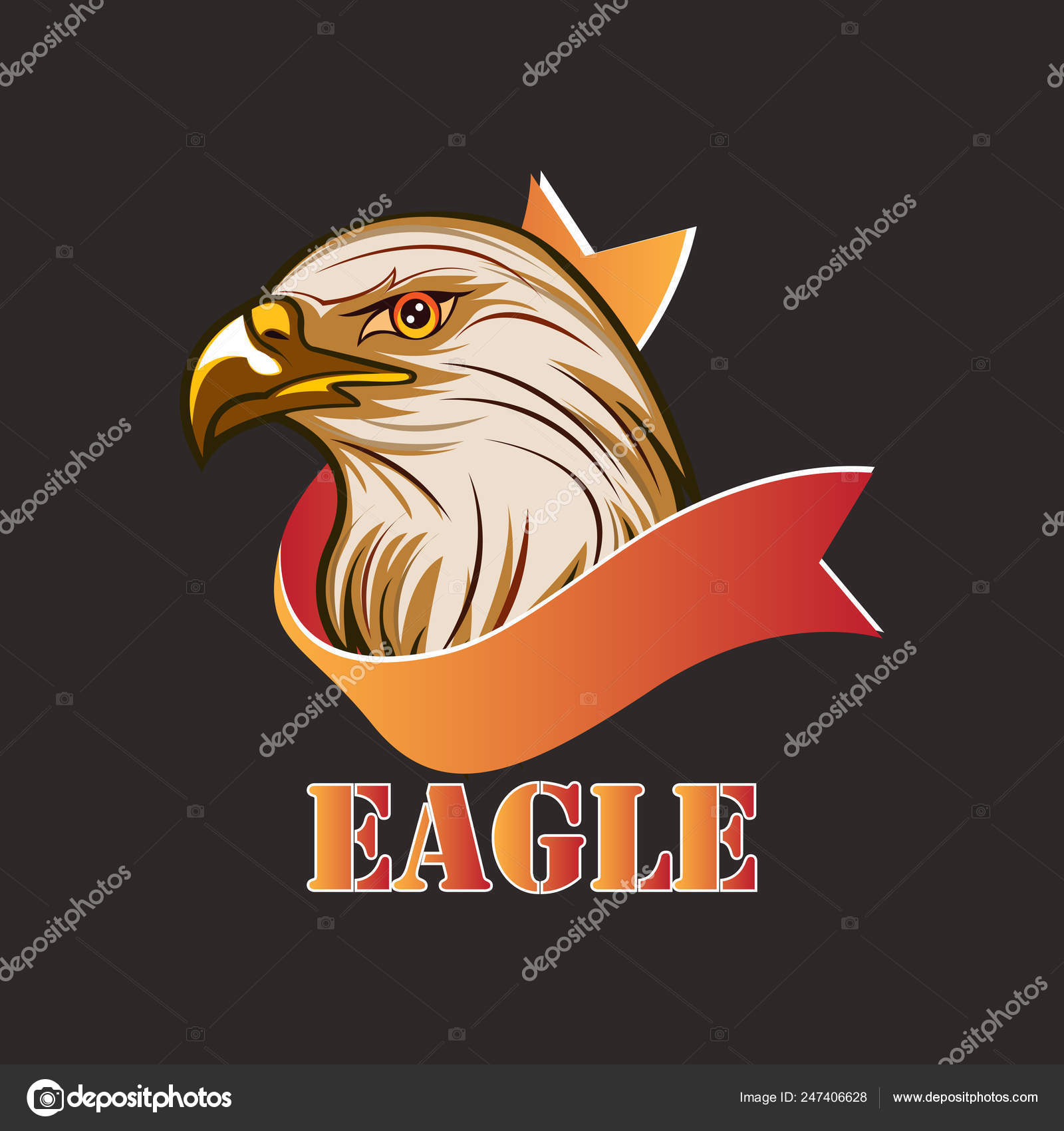 American Eagle Head Logo Design Concept Template — Stock