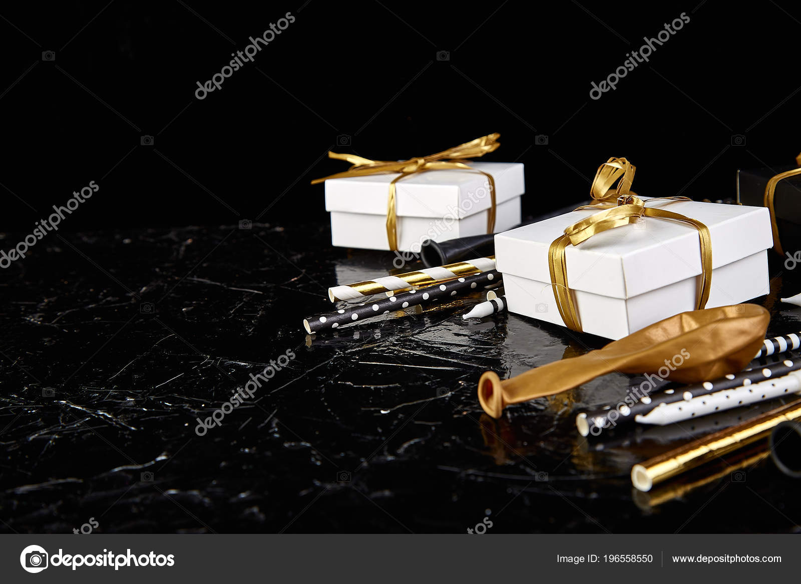 Birthday Party Accessories Set Gift Boxes Balloon Candles Gold Black