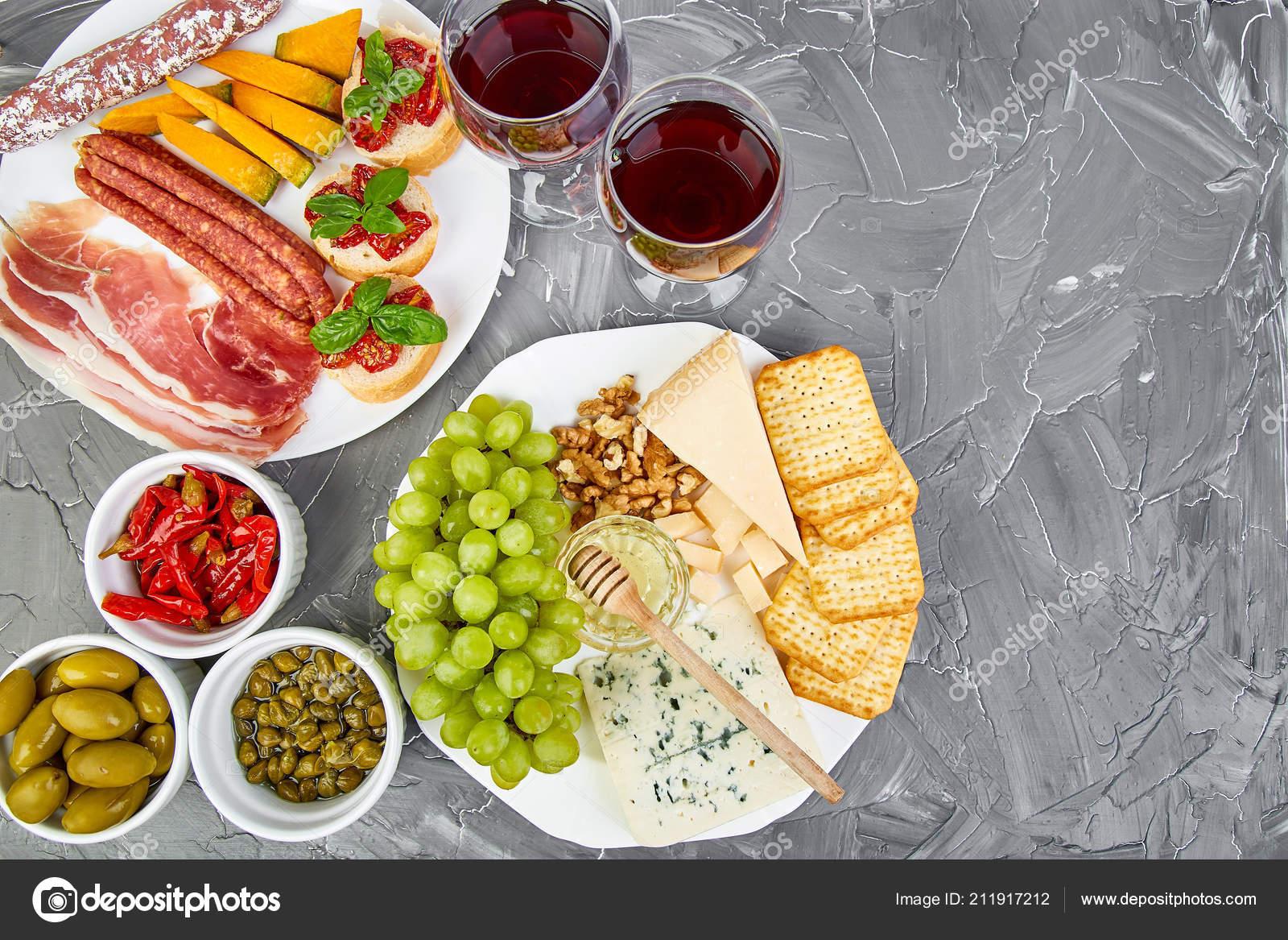 Italian Antipasti Wine Snacks Set Wine Glasses Antipasto Catering Platter Stock Photo Image By C Bondarillia 211917212