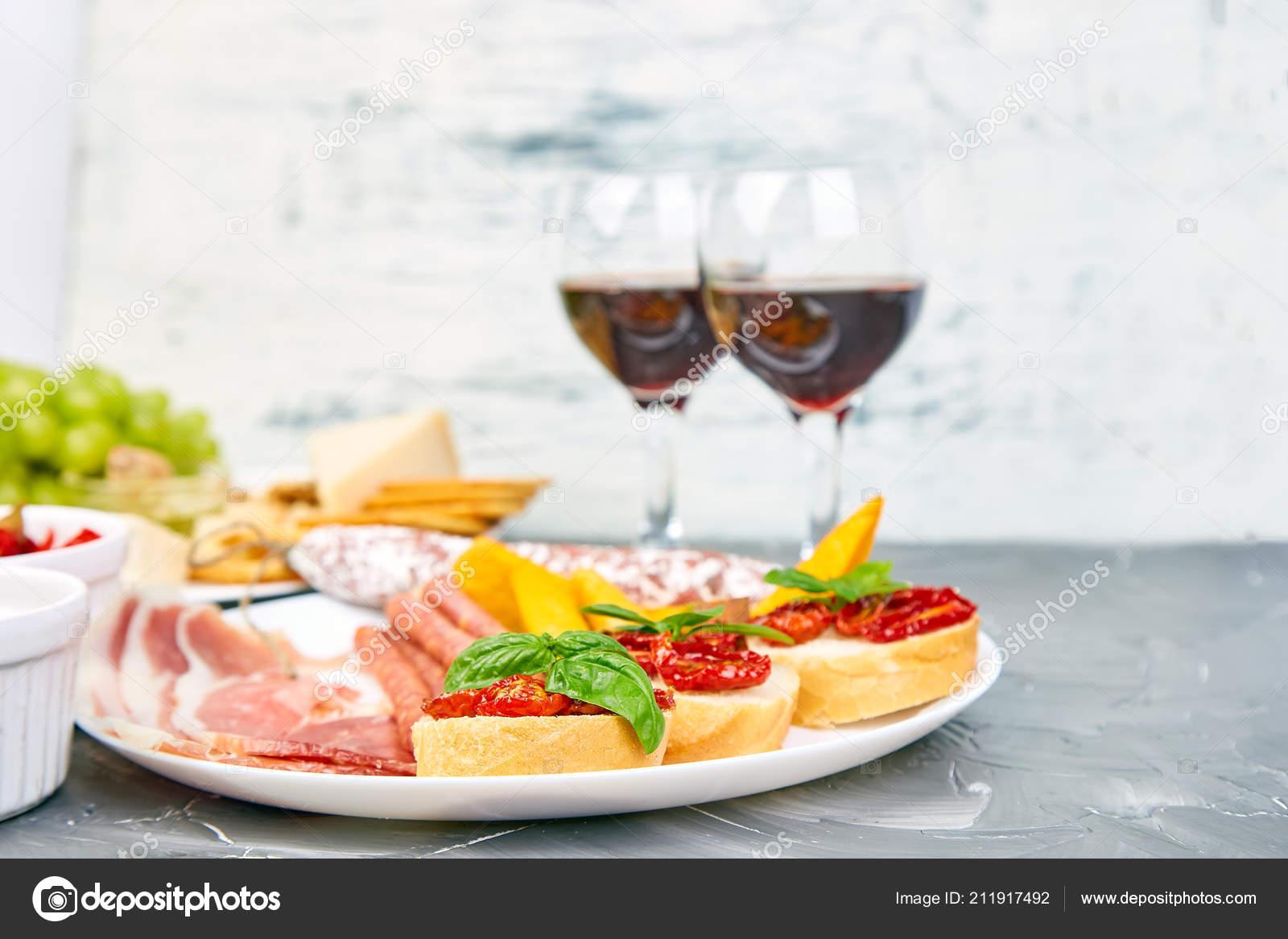 Italian Antipasti Wine Snacks Set Wine Glasses Antipasto Catering Platter Stock Photo C Bondarillia 211917492