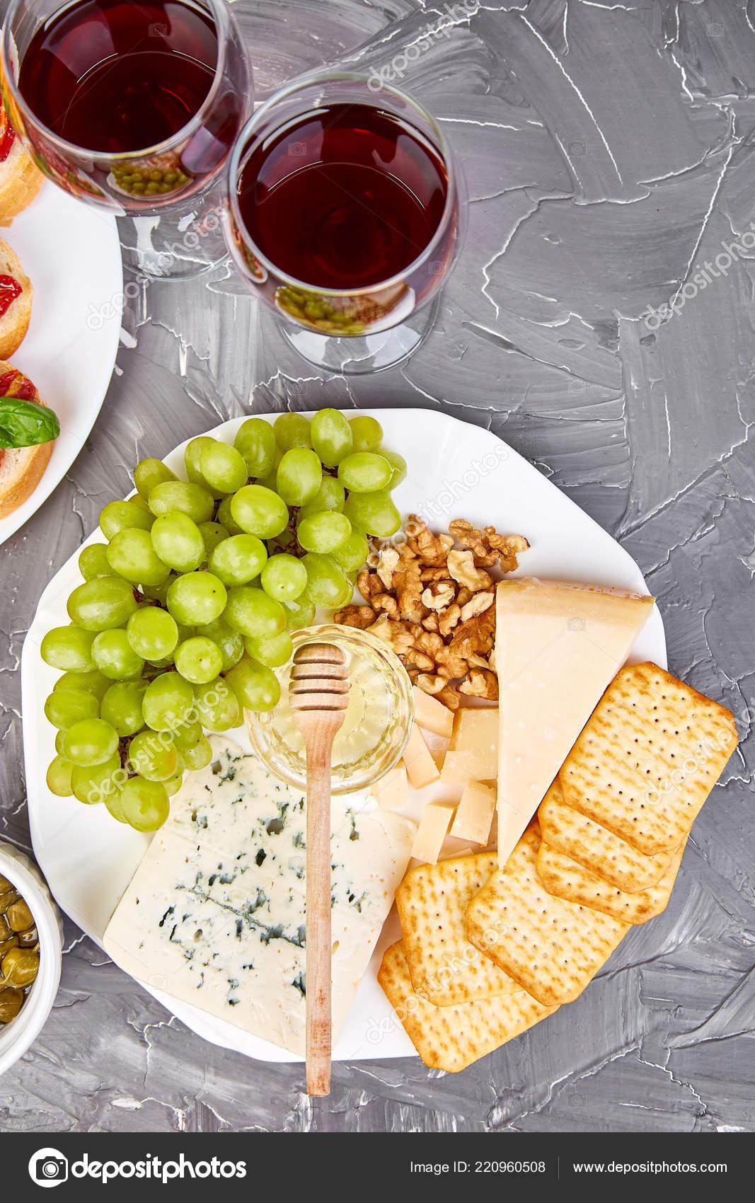 Cheese Plate Variety Wine Glasses Grunge Grey Background Italian Antipasti Stock Photo C Bondarillia 220960508