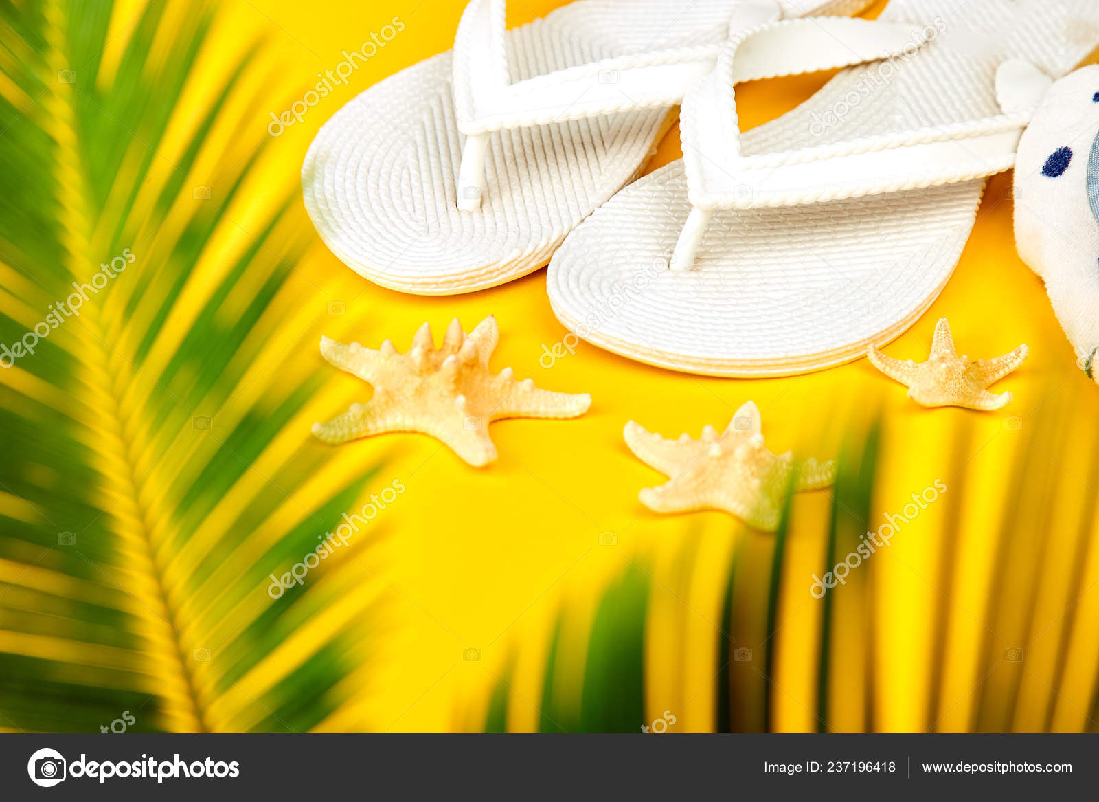 f07d9dc29e54 Summer White Flip Flops Starfish Tropical Palm Branches Yellow ...