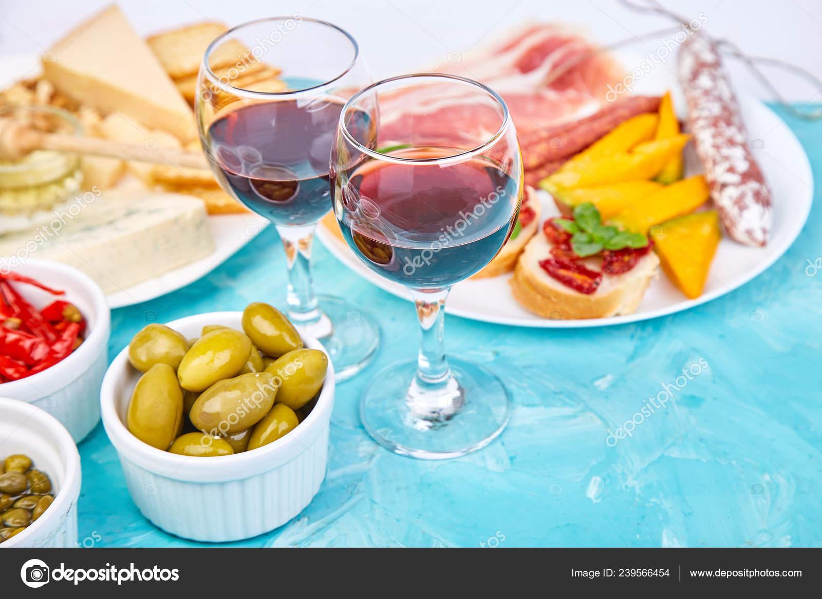 Italian Antipasti Wine Snacks Set Antipasto Catering Platter Jerky Salami Stock Photo C Bondarillia 239566454