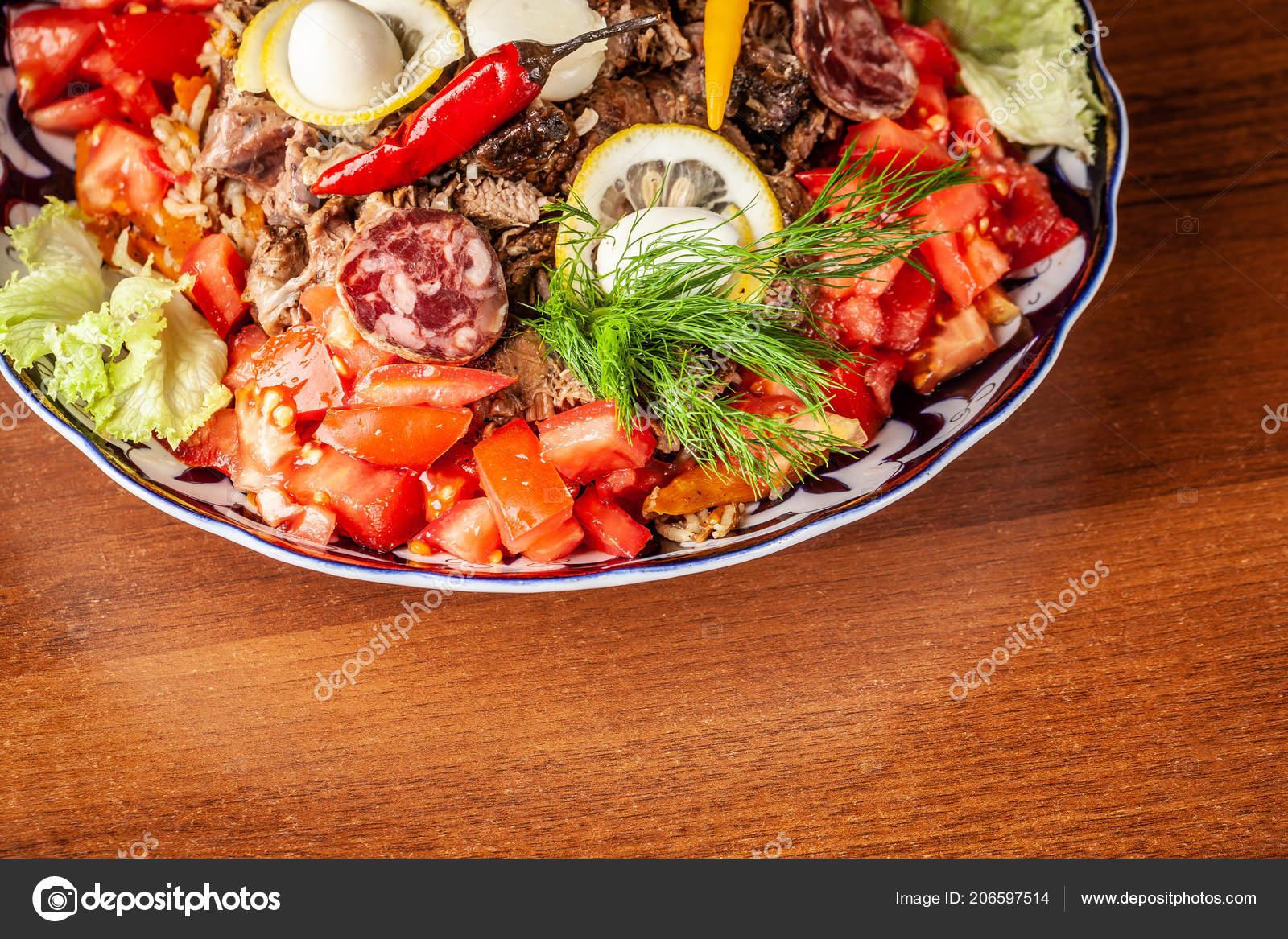 Traditional Uzbek Oriental Cuisine Samarkand Pilaf Mutton Vegetables on