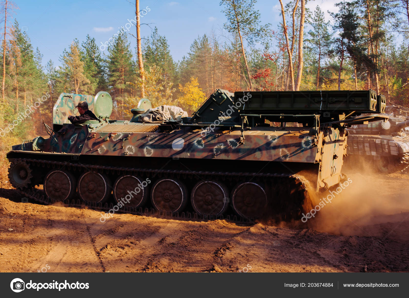 real battle tanks disguised trenches donbass ukraine stock photo