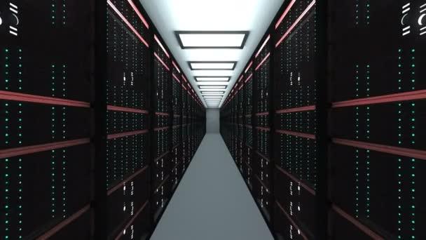 Großer Serverraum-Innenraum in Rechenzentrum, Webnetzwerk und Internet-Telekommunikationstechnologie, Datenspeicherung und Cloud-Service-Konzept, 3D-Render