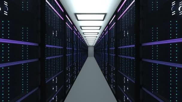 modernes Serverrauminterieur in Rechenzentrum, Webnetzwerk und Internet-Telekommunikationstechnologie, Big-Data-Speicherung und Cloud-Service-Konzept, 3D-Render