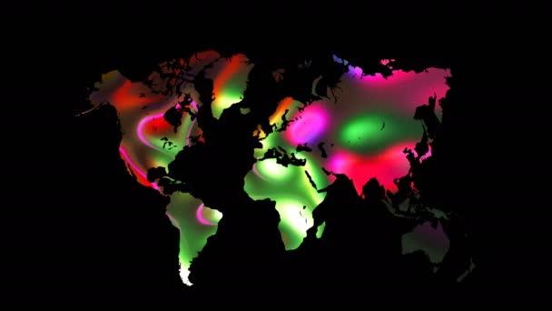 Colourful world map on black background, flat Earth, globe worldmap icon, 3d render backdroung