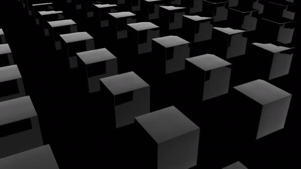 Rows of many dark shiny cubes, modern computer generated 3D render background