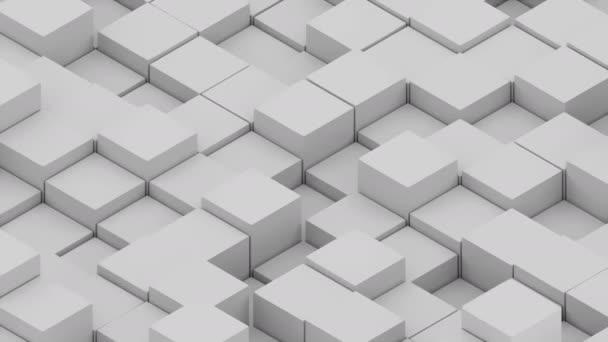 Sok absztrakt izometrikus kockák, modern számítógéppel generált 3d render háttér