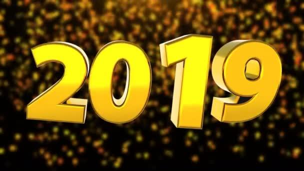 2019 jasný text s klesající konfety, 3d vykreslení počítačem tvořil pozadí pro Silvestrovské a vánoční svátky