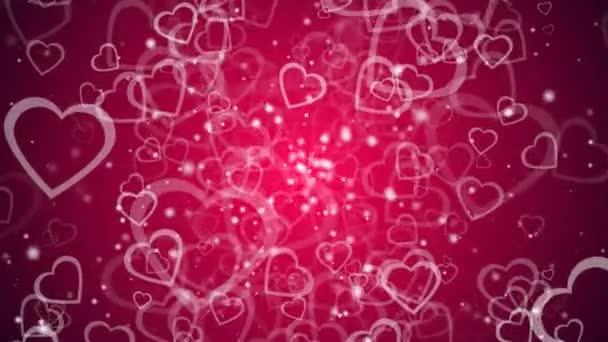 Abstraktní pozadí s mnoha srdcí, 3d vykreslení pozadí computeru pro Valentýna