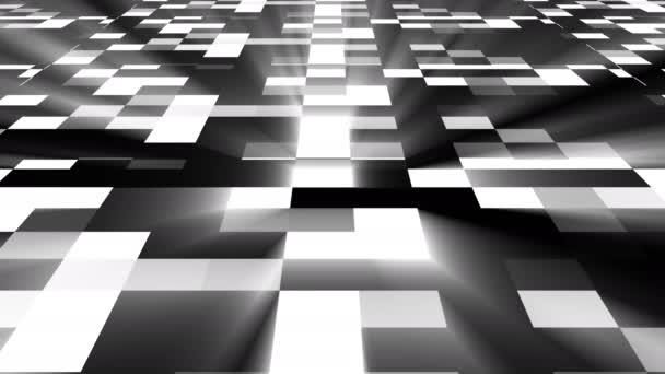Abstrakte quadratische Technologie Hintergrund mit hellem Leuchten, 3D-Renderhintergrund, computergenerierte digitale Kunst