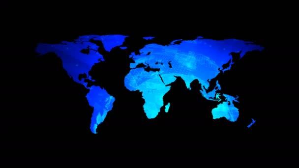 Globális technológiai világ Térkép-val digitális dekoráció, a Föld lapos, földgömb worldmap ikon, 3d-leképezés
