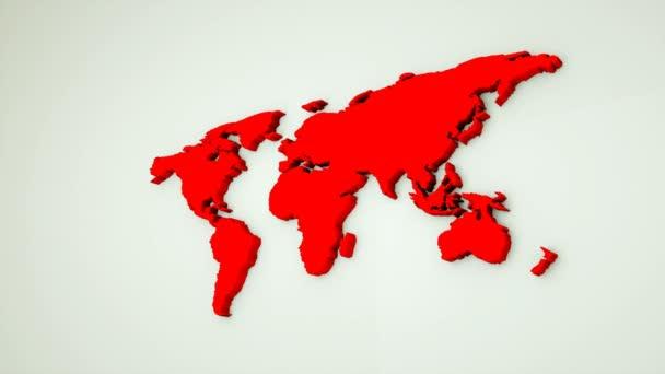 Globalen Weltkarte, flache Erde 3D-Karte sind auf Wand, Globus Weltkarte Symbol, 3d Render computergenerierten Hintergrund