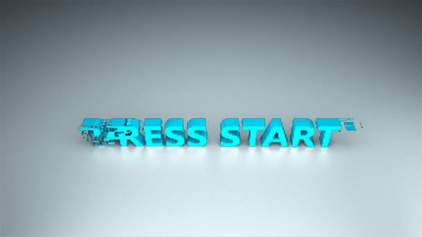 3d text - Press start with glitches effect are on surface, background for gaming design