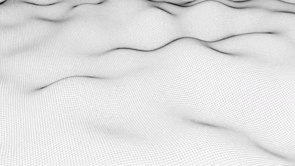 Wavy wireframe with black lines, liquid surface imitation, 3d render computer generated backdrop