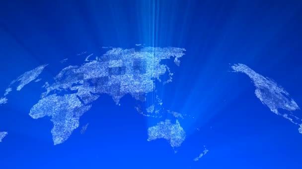 Celosvětová technologická mapa, ikona glóbusu, 3D vykreslení