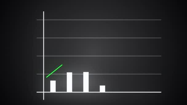 Rostoucí pruhový graf s rostoucí šipkou, graf finančních prognóz, vytvořený počítačem 3D vykreslování