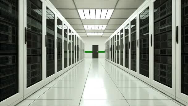 Moderne Server Innenraum im Rechenzentrum, Web-Netzwerk und Internet-Telekommunikations-Technologie, big-Data-Storage und Cloud-Service-Konzept, 3d render
