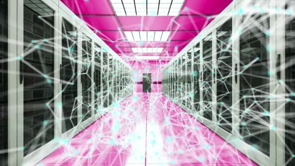 Server room and connection dots in datacenter, web network and internet telecommunication technology, 3d rendering
