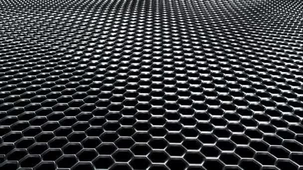 Welliges Metallnetz aus glänzenden silbernen Sechsecke. Computergenerierter moderner Hintergrund, 3D-Rendering.