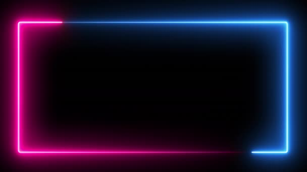 Számítógéppel generált színes animáció. 3D rendering neon doboz, kék és rózsaszín színű, fekete háttér