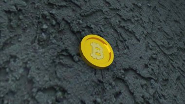 Bit sikke beton yüzeyde, elektronik sanal para ve madencilik kriptopara kavramı, 3d render sembolüdür