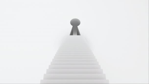Stairs with steps leading to the keyhole, computer graphics abstract background, 3D rendering