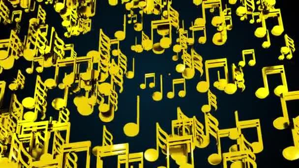 Arany hangjegyek esője, számítógép generálva. 3D renderelés dallamos háttér